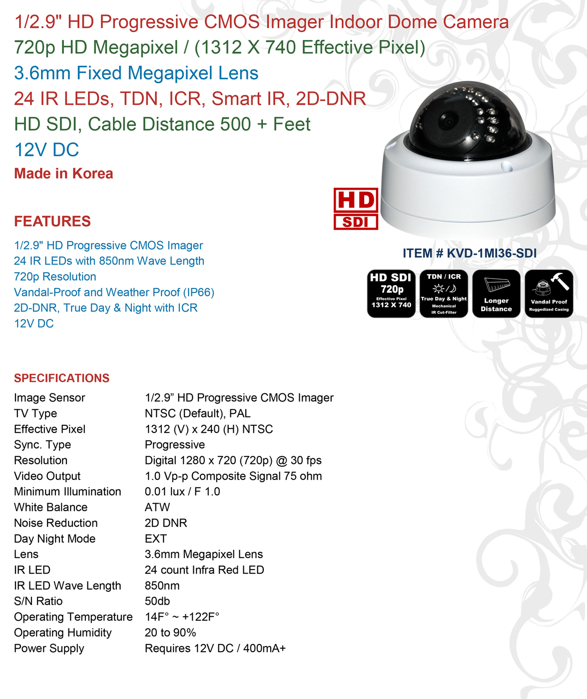 KVD-1MI36-SDI | CCTVSTAR Manufacture of Security Cameras